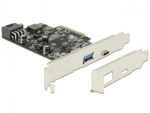 Delock Kontroler USB 3.1 Delock PCIe 1x Type-A + 1x Type-C Power Delivery 93W