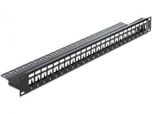 Delock Patch panel Delock 24 port 1U do modułów Keystone + Cable Manager