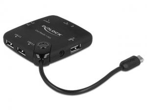 Delock Czytnik kart Delock micro USB 2.0 OTG All in One + Hub