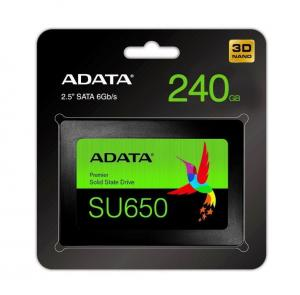 "ADATA Dysk SSD ADATA Ultimate SU650 240GB 2,5"" SATA3 (520/450 MB/s) 7mm, 3D NAND / Black Retail"