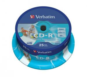 VERBATIM CD-R Verbatim 52x 700MB (Cake 25) WIDE PRINTABLE